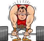 Cartoon Illustrations of Strongman Athlete or Weightlifting Sportsman
