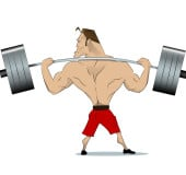 Comical athlete with a barbell on your shoulders. View from the back. Vector