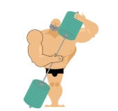 Bodybuilder loves a barbell. Athlete hugs sports accessory. Different muscles on body of a person. Vector illustration fitness models