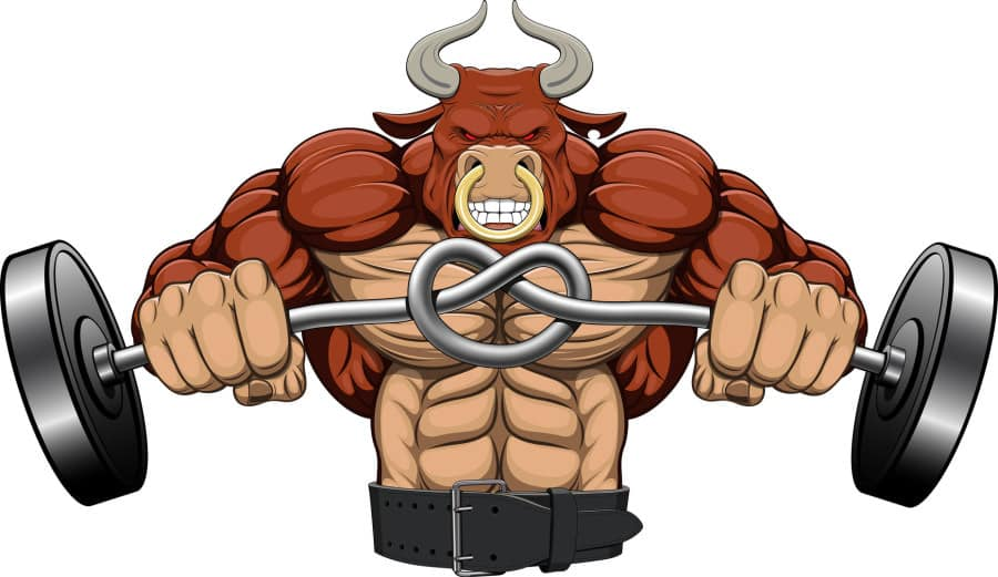 Illustration: a strong angry bull